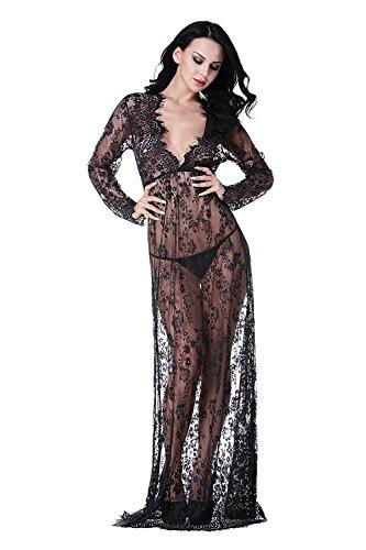 Imixcity vestito lungo donna collo v vedere attraverso pizzo abiti abbigliamento premaman (nero, xxl: 42/44)