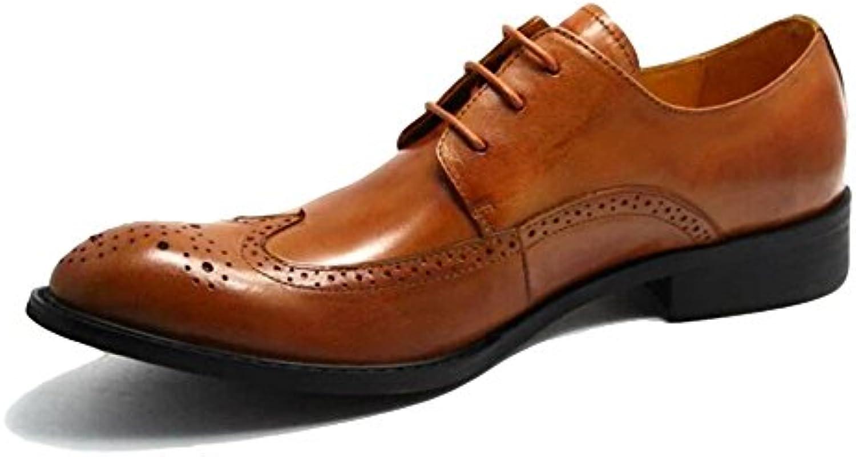 MERRYHE Herren Spitzschuh Lederschuhe Brogues Business Formal Schuh Lace Up Derby Wohnungen Für Hochzeit Abend