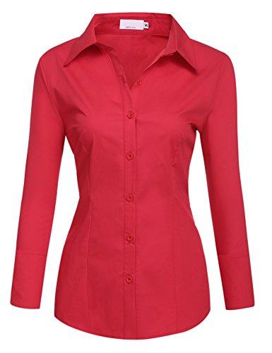 BeautyUU Damen Hemd Langarm Bluse Einfarbig Damenbluse Freizeithemd Business Hemd Baumwolle Rot XL