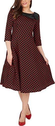 Black Butterfly 'Iris' 50's Polka-Dots Kleid mit besetztem Ausschnitt (Schwarz & Rot, EUR 46 - XXL)