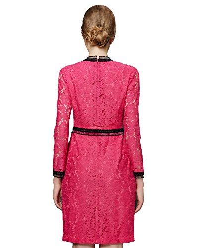 ASCHOEN Damen Spitzenkleid Abendkleid Vintage Off Schulter Knielang A-Linie Cocktailkleid Retro Spitzen Langarm Kleid Rosa