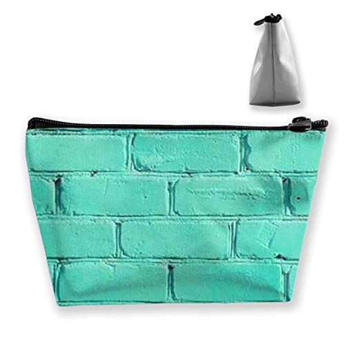 Vintage Blue Wall Women Cosmetic Bags Portable Pouch Trapezoidal Storage Bag Travel Bag With Zipper