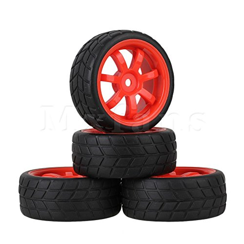 Generic Red : Mxfans 4 x RC1:10 Square Pattern Rubber Tyre + 7-Spoke Wheel Rim for On Road Car