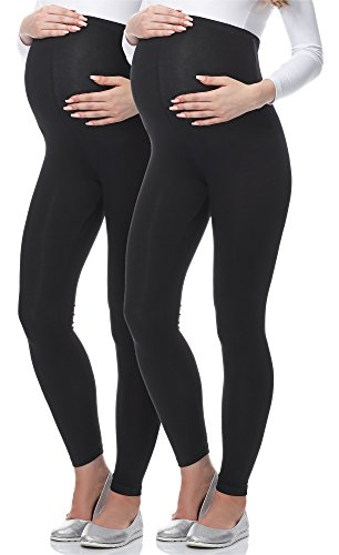 Be Mammy Lange Umstandsleggings BE-02 2er Pack (Schwarz/Schwarz, M)