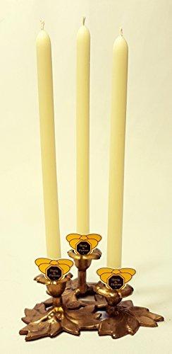 Kerzen Set - 6 Leuchterkerzen Stabkerzen weiß Creme aus Bienenwachs Beeswax Candles Bees Wax Candle Beeswax Hochzeit Taufe Spitzkerzen Tafelkerzen Weinachtsbaum Adventskranz