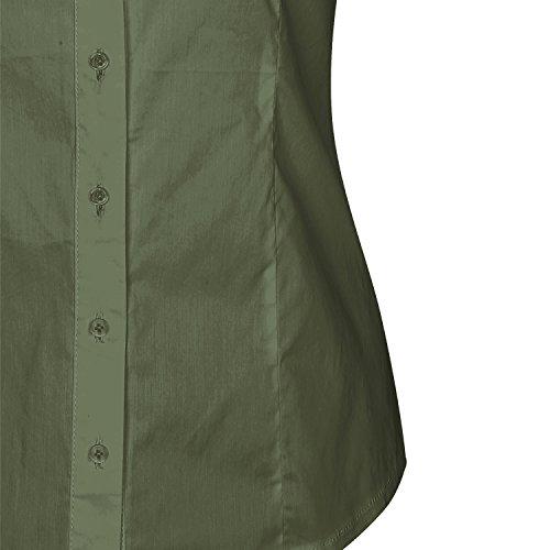 69306ab461b4 ... SUNNOW® Modisch Damen Shirt Kurzarm Revers Schlank Hemd Arbeit V- Ausschnitt mit Knöpfe Casual