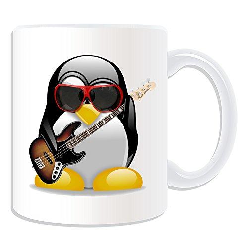 Personalisiertes Geschenk–E-Bass Gitarre Becher (Design Pinguin in Kostüm Thema, weiß)–alle Nachricht/Name auf Ihre einzigartige–Musik Musikinstrument
