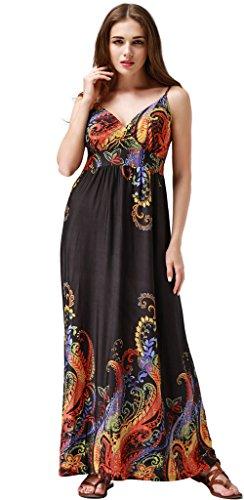 Wantdo Damen Sommer Maxi V-Ausschnitt Kleid Strandkleid Schwarz 56-58