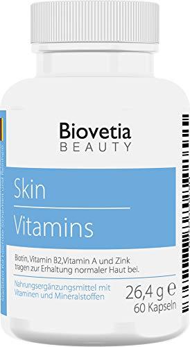 Biovetia Haut Vitamine Kapseln für die Haut am ganzen Körper mit Experten-Rezeptur, Hautvitamine mit Biotin und Zink, 60 Kapseln -