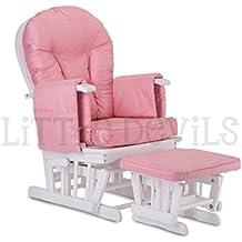 Colore: legno bianco, rosa Little Devils Direct-Sedia a dondolo reclinabile per gravidanza/allattamento/& sedia, con meccanismo di blocco e poggiapiedi coordinato in omaggio