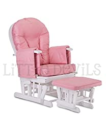 Still- und Schwangerschaftssessel, Holz, mit Arretierung und kostenlosem Fußhocker, Pinkfarben