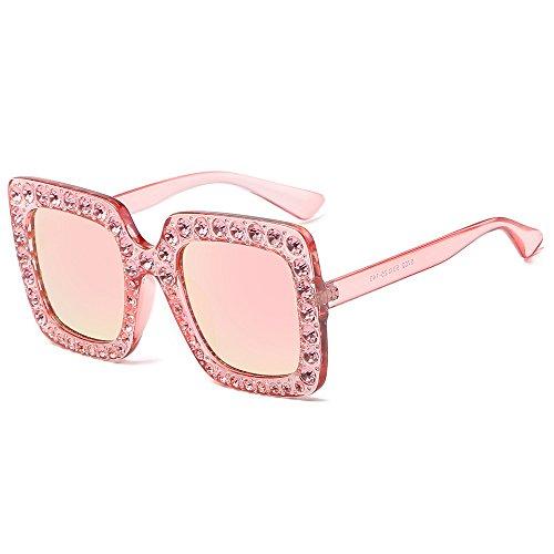 iCerber UV400 Damenmode Künstliche Diamant Katze Ohr Quadrate Metallrahmen Marke Klassische Sonnenbrille Schick Klassische Retro Polarisiert Sonnenbrille Damen Herren