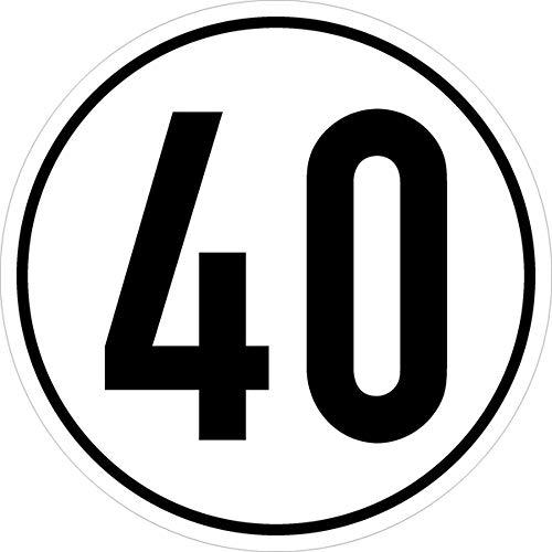 Geschwindigkeitsschild Kraftfahrzeuge Angabe km/h in versch. Versionen,Alu, 20cm Version: 40 - Geschwindigkeit 40