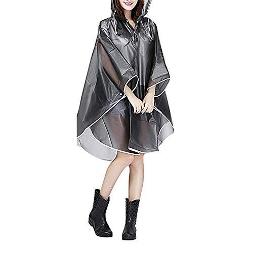 GZQ Regenponcho Wiederverwendbarer tragbarer Regenmantel für Erwachsene Notfall-Regenbekleidung mit Kapuze und Ärmeln für Festivals, Themenparks, Camping, Landwirtschaft, Angeln, grau