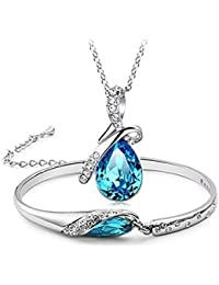 YouBella Fashion Jewellery Crystal Combo Of Pendant Necklace For Girls Fancy Party Wear And Bangle Bracelets For...