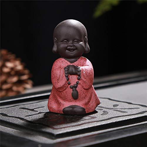 FFDGHB Kleine MöNch Skulptur Im Chinesischen Stil Keramik Handgeschnitzte Buddha-Statue Dekoration (2 StüCk) Eine GrößE (Traditionelle Chinesische Kostüm Bilder)