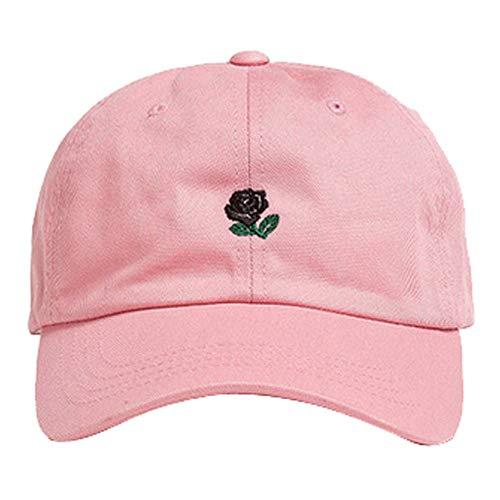 VECOLE Run Cap Rose Bestickte Baseballmütze Fashion Joker Hat Unisex Faltbare, verstellbare (Rosa)