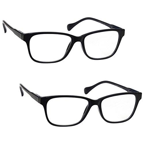 Reading Glasses Twin Pack +1.00 Strength Mens Womens Unisex Designer Style Lightweight Comfortable Black Inc Case UV Reader UVR2PK026