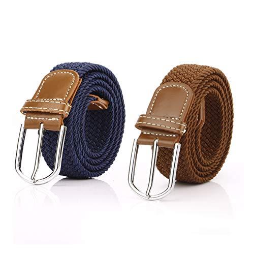 2 Piezas Cinturón Trenzado Elástico de Mujer Cinturones Hombre Elásticos Tejidos para Jeans Pantalones (Marrón y Azul Marino)