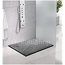 Plato de ducha rectangular de Yellowshop, fabricado con mármol resina, acabado en pizarra, color antracita, medidas: 70 x 90 cm