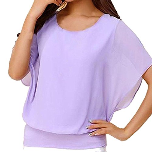 VEMOW Sommer Elegante Damen Frauen Lose Beiläufige Partei Lose Workout Kurzarm Flügelhülse Chiffon Top T-Shirt Bluse Pullover Tees(Lila, EU-48/CN-4XL) (Pullover Lila Rollkragen)