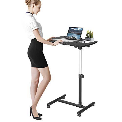 Aingoo Laptoptisch höhenverstellbar, Laptopständer mit Rollen, Notebooktisch mit Ablage für Maus ,64*40*57-83cm , Upgrade Schwarz
