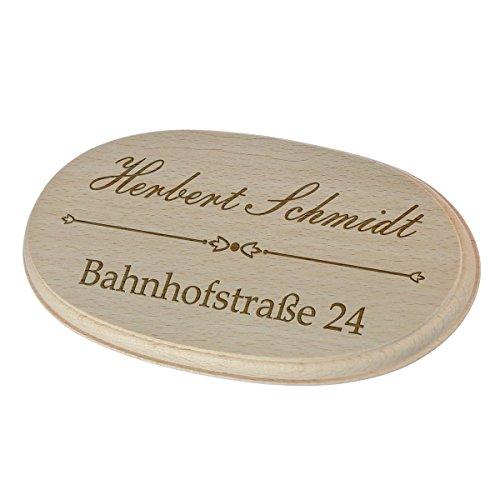 polar-effekt Holzschild Türschild - Namensschild Geschenk zum Einzug - Spruchbrett 17,7 x 9,9 cm inkl. Gravur - Motiv Familienname mit Straße und Hausnummer