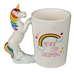 Idea Regalo - Tazza in ceramica con manico a forma di Unicorno, Never stop dreaming, ca. 11 x 9 cm