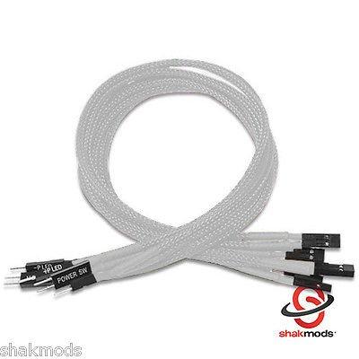 shakmods 30cm Front Panel Weiß Ärmeln Power Reset HDD LED Verlängerungskabel -