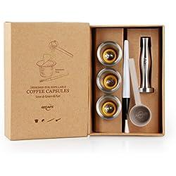 RECAPS--Capsules Rechargeables en Acier Inoxydable Goupilles Réutilisables Compatible avec Machines Nespresso (3 Capsule + 120 Sceaux+ 1 Altérer)