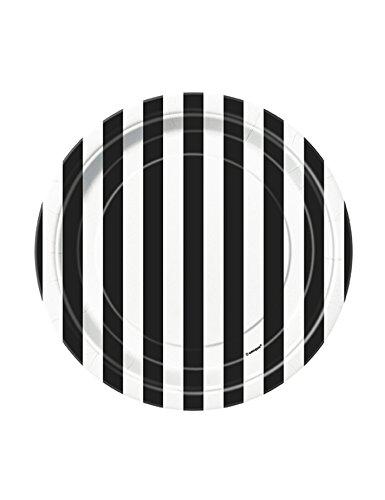 8 Petites assiettes à rayures noires et blanches en carton 18 cm - taille - Taille Unique - 225845