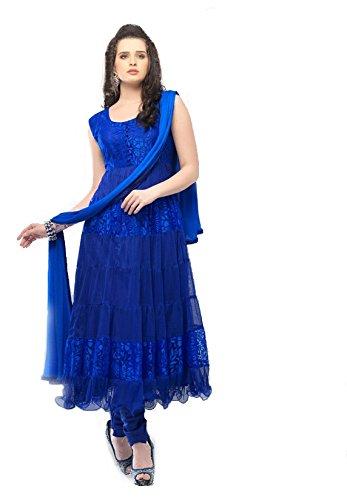 A V Fashion Womens Net Anarkali Dress Material (Anarkali1623 _Blue _Free Size)