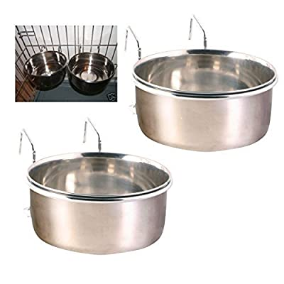 2 Stainless Steel Dog Bowls For Cages and Crates with Hooks