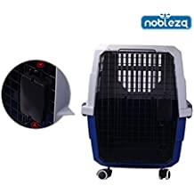 Nobleza - Transportín rígido para perros o gatos con ruedas. Color azul y gris. Medidas: largo 813,3 cm x ancho 56 cm x alto 58,5 cm