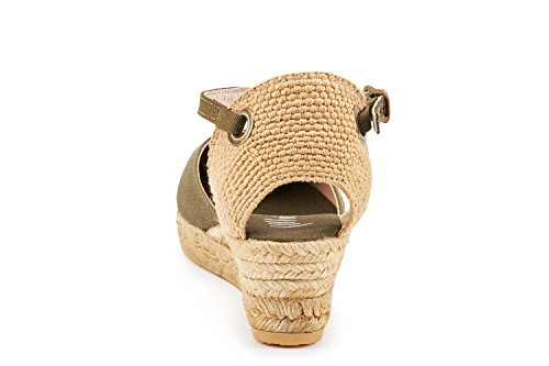 VISCATA Pubol Ankle-Strap, Closed Toe, Classic Espadrilles with 2-inch Heel Made in Spain Cactus Green
