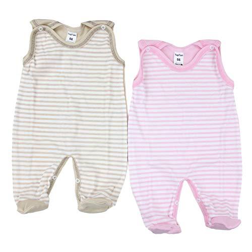 TupTam Unisex Baby Strampler Baumwolle Gemustert 2er Set, Farbe: Farbenmix 1, Größe: 56