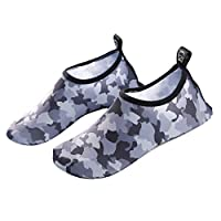 Water Shoes Mens Womens Barefoot Shoes Beach Snorkeling Swimming Quick Drying Slip On Yoga Shoes Grey