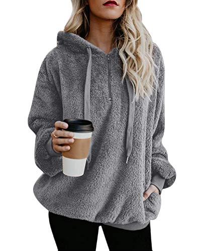 ORANDESIGNE Damen Oberteile Herbst Wolle Hoodie Winter Sweatshirt Tops Langarmshirt mit Taschen Strickjacke S-XXL Grau DE 36 - Plüsch Pullover