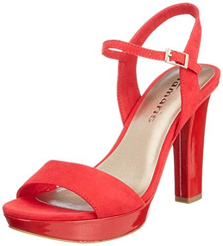 Tamaris 1-1-28398-22, Sandali con Cinturino alla Caviglia Donna, Rosso (Lipstick/Pat. 564), 37 EU