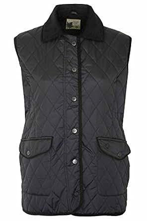 Ladies Country Estate PressStud Closure Quilted Gilet Bodywarmer Jacket Black 10