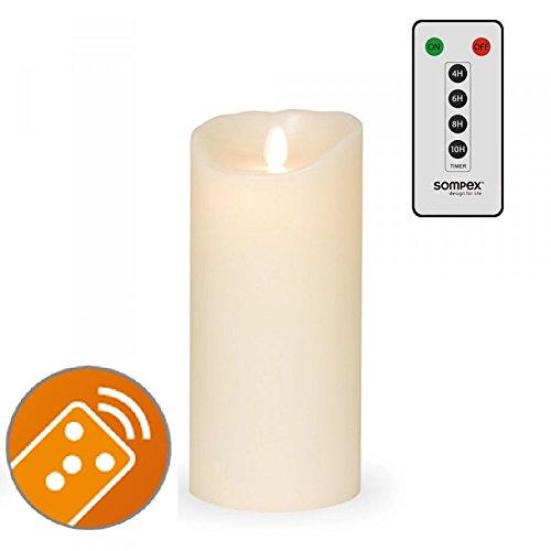 Sompex 35131–Vela Flame LED Classic marfil 8x 18cm, con mando a distancia. Bundle Incluye mando a distancia.