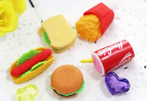 Happy Star® 5pcs Fast Food Erasers Burger Sandwich Hotdog Chips Fizzy Drink Puzzle Erasers Rubbers Stocking