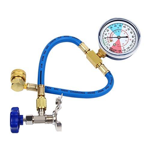 Latinaric R134a aire acondicionado refrigerante Válvula de medición de manguera Kit de...