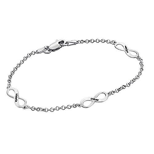 Sterling Silber Unendlichkeit Symbol Womens Charm Armband Freundschaft Charm Name Armband ()