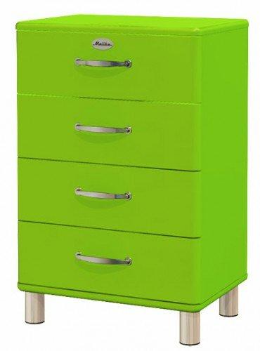 Sideboard Tenzo Malibu 60 cm mit 4 Schubladen MDF Farbe wählbar Matt, Farbe:Grün