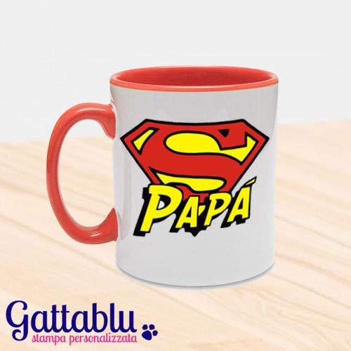 Tazza mug 11 oz con interno e manico colorati Super Papà! Rossa! Idea  regalo divertente per la Festa del Papà!