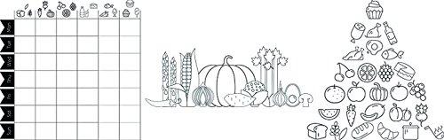 Securit Lebensmittel Diagramm Thema Fenster Schablonen inkl. Kreide Marker, Weiß, Größe A2, Set von 3