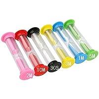 6 relojes de arena, 30 seg/1 min/2 min/3 min/5 min/10 min, diferentes colores