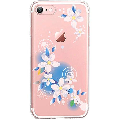 GIRLSCASES® | iPhone 8 / 7 Hülle | Im Macaron Girly Look aus Silikon | Fashion Case transparente Schutzhülle Blaue Blumen