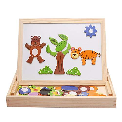 XBECO Magnetische Puzzle Kinderspielzeug, Holz Doppelseitig Trocken Staffelei Geburtstag Weihnachtsgeschenke Jungen und Mädchen Kinder 3 Jahre Alt 4 Jahre Alt 5 Jahre Alt, Bauernhof Kleidung